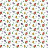 Vector naadloze patroonachtergrond Met lieveheersbeestjes en punten Royalty-vrije Stock Foto