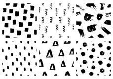 Vector Naadloze Patroonreeks Abstracte hand getrokken grunge inkttexturen stock illustratie
