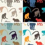 Vector naadloze textuur met apen Stock Afbeelding