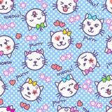 Vector naadloze textuur met katjes met emoties op hun snuiten De gezichten van de Kawaiikat, woorden, sterren, harten voor babyme royalty-vrije illustratie