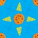 Vector naadloze textuur met pizza en kaas royalty-vrije illustratie