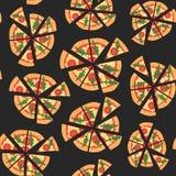 Vector naadloze textuur van patroon met margheritapizza Plakken in een vlakke stijl Royalty-vrije Stock Fotografie