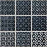 Vector naadloze uitstekende achtergronden geplaatst zwart barok Patroon Royalty-vrije Stock Afbeeldingen