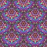 Vector Naadloze Violet Floral Mandala Pattern Stock Foto's