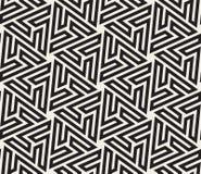 Vector Naadloze Zwart-witte Hexagonale Geometrische Ster Maze Islamic Line Pattern Stock Fotografie