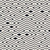 Vector Naadloze Zwart-witte Rond gemaakte Lijn Maze Irregular Pattern Stock Afbeeldingen