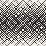 Vector Naadloze Zwart-witte Rond gemaakte Lijn Maze Irregular Pattern Halftone Gradient Stock Afbeelding