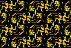 Vector naadloze zwarte en gouden bloem Stock Afbeelding