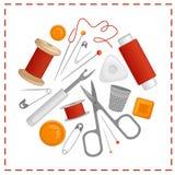 Vector naaiende hulpmiddelen in de vorm van een cirkel Royalty-vrije Stock Fotografie