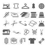 Vector naaiende materiaal en handwerk geplaatste pictogrammen Stock Afbeeldingen