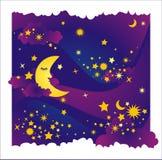 Vector nachtachtergrond Stock Foto's