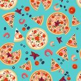 Vector nahtlose Beschaffenheit von Pizza-Scheiben mit verschiedenen Bestandteilen Lizenzfreie Stockbilder