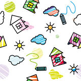 Vector nahtlose farbige Musterzeichnungshaus-Wolkensonne vektor abbildung