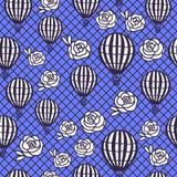 Vector nahtlose rosafarbene Blumen der Muster-Heißluftballon- und -handzeichnung Vektor Abbildung