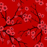 Vector nahtlosen Hintergrund mit Kirschblüte-Blüten und -folliage Lizenzfreie Stockbilder