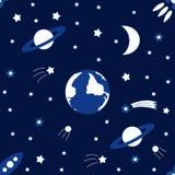 Vector nahtlosen Hintergrund zum Feiertag internationalen Tag des menschlichen Raum-Fluges Illustration für Feierdesign Stockbilder