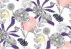 Vector nahtloses Blumenmuster mit Hand gezeichneter Illustration von violettem, rosa, orange, Gold, gelbe Blumen Stockfotos