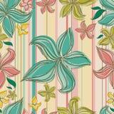 Vector nahtloses Blumenmuster mit Orchideeblume Stockbild