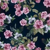 Vector nahtloses Blumenmuster mit rosa Rosen, Aquarell Stockfotos