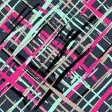 Vector nahtloses buntes Plaidmuster mit trockener Bürste des Aquarells Stockbild