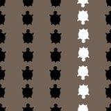 Vector nahtloses buntes Schildkrötenmuster mit Linien von Schildkröten in Schwarzweiss im braunen Hintergrund vektor abbildung