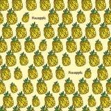 Vector nahtloses helles Muster, mit saftiger Ananas Gezeichnet durch H Stockfotografie