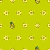 Vector nahtloses helles Muster, mit saftiger Ananas Gezeichnet durch H Lizenzfreies Stockfoto
