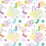 Vector nahtloses Kind-` s Muster mit Bleistiften und Muster stock abbildung