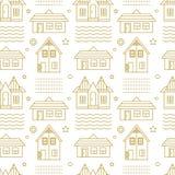 Vector nahtloses lineares Muster mit Gebäude und abstrakten Elementen Es kann für Leistung der Planungsarbeit notwendig sein Lizenzfreie Stockfotografie
