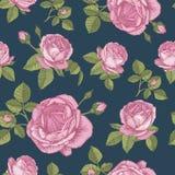 Vector nahtloses mit Blumenmuster mit Blumensträußen von rosa Rosen Lizenzfreies Stockbild
