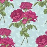 Vector nahtloses mit Blumenmuster mit Blumensträußen von Rosen Stockfoto