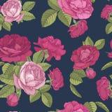 Vector nahtloses mit Blumenmuster mit Blumensträußen von roten und rosa Rosen auf dunkelblauem Hintergrund Lizenzfreies Stockbild