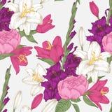 Vector nahtloses mit Blumenmuster mit Gladioleblumen, -lilien und -rosen Lizenzfreies Stockfoto