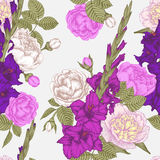 Vector nahtloses mit Blumenmuster mit Gladioleblumen, -rosen und -pfingstrosen Stockfoto