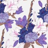 Vector nahtloses mit Blumenmuster mit Hand gezeichneten Gladioleblumen, -lilien und -rosen Lizenzfreies Stockfoto
