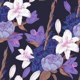 Vector nahtloses mit Blumenmuster mit Hand gezeichneten Gladioleblumen, -lilien und -rosen Lizenzfreie Stockfotos