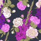 Vector nahtloses mit Blumenmuster mit Hand gezeichneten Gladioleblumen, -rosen und -pfingstrosen Lizenzfreie Stockfotos