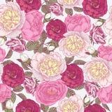 Vector nahtloses mit Blumenmuster mit Hand gezeichneten Pfingstrosen und Rosen Stockfotografie