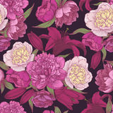 Vector nahtloses mit Blumenmuster mit Hand gezeichneten rosa und weißen Pfingstrosen, rote Lilien Lizenzfreie Stockfotos
