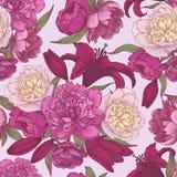 Vector nahtloses mit Blumenmuster mit Hand gezeichneten rosa und weißen Pfingstrosen, rote Lilien Lizenzfreies Stockfoto