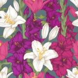 Vector nahtloses mit Blumenmuster mit Hand gezeichneten violetten Gladioleblumen und weißen Lilien Lizenzfreies Stockbild