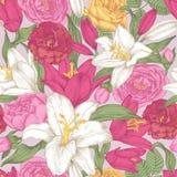 Vector nahtloses mit Blumenmuster mit Lilien und Rosen Stockbild