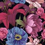 Vector nahtloses mit Blumenmuster mit Pfingstrosen, Lilien, Rosen Lizenzfreie Stockbilder