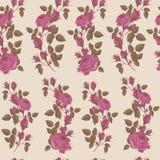 Vector nahtloses mit Blumenmuster mit rosa Rosen auf beige Hintergrund Lizenzfreies Stockfoto