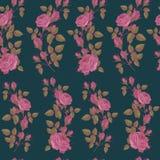 Vector nahtloses mit Blumenmuster mit rosa Rosen auf dunkelgrünem Hintergrund Stockbilder