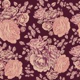 Vector nahtloses mit Blumenmuster mit Rosen und persischer Butterblume Lizenzfreie Stockfotografie