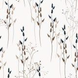 Vector nahtloses mit Blumenmuster mit wilden Wiesenblumen, -kräutern und -gräsern vektor abbildung