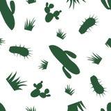 Vector nahtloses mit einem Schattenbild des Grases und des Kaktus Lizenzfreies Stockbild