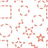 Vector nahtloses Muster Abstrakter geometrischer Hintergrund mit verschiedenen geometrischen Formen - Dreiecke, Kreise, Punkte, L stock abbildung