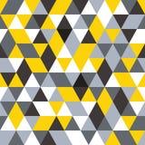 Vector nahtloses Muster abstrakter Hintergrund Wiederholen des geometrischen Hintergrundes Schwarze, graue und gelbe Farben Lizenzfreie Stockfotografie